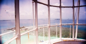 view from inside of Lengkuas Island's lighthouse